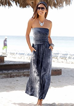 Tie Dye Bandeau Maxi Dress product image (X30019-GYPR-00)