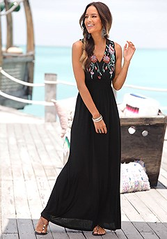 Embroidered Maxi Dress product image (X30022-BK-00)