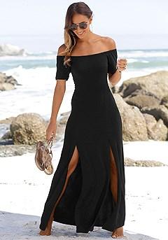 Carmen Neckline Maxi Dress product image (X30023-BK-00)