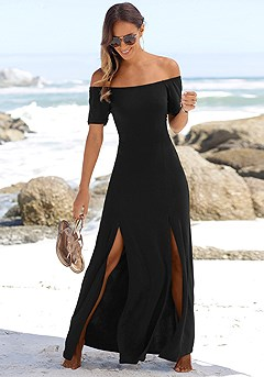 Carmen Neckline Maxi Dress product image (X30023-BK-K)