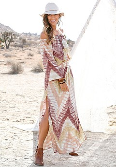 Boho Print Carmen Maxi Dress product image (X30026-MUPR-00-S)