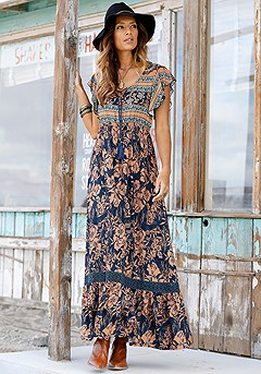 Tie Neck Boho Maxi Dress product image (X30028-BKPR-00-S)