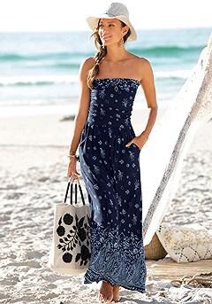 Bandeau Maxi Dress product image (X30030.NVPR_1)