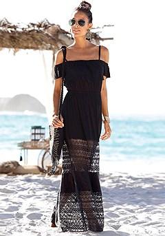 Lace Accent Carmen Maxi Dress product image (X30033-BK-00)