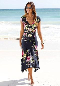 Handkerchief Hem Floral Midi Dress product image (X30035-NVPR-00-S)