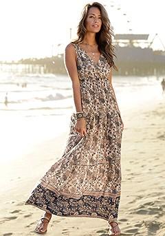 Empire Waist Boho Maxi Dress product image (X30101MUPR)