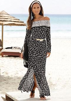 Mix Print Long Sleeve Maxi Dress product image (X30105.BKSA.O.1)