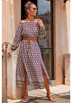 Boho Print Maxi Dress product image (X30108-PUMU_1)