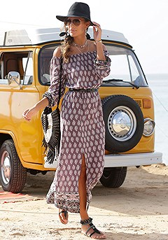 Boho Print Maxi Dress product image (X30108PUMU)
