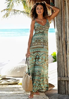 V-Neck Boho Maxi Dress product image (X30121.TQMU.1)
