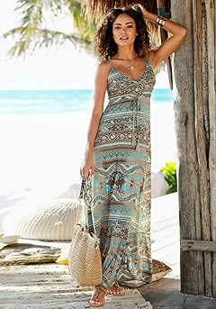 V-Neck Boho Maxi Dress product image (X30121.TQMU.1G)