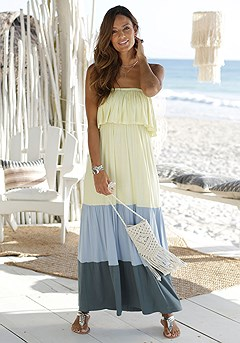 Tiered Color Block Maxi Dress product image (X30122.YLMU.11S)