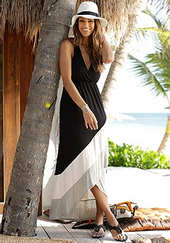 V-Neck Color Block Maxi Dress product image (X30123.BKRS.33S)
