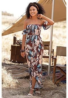 Ruffled Tropical Maxi Dress product image (X30128MUPR_1)