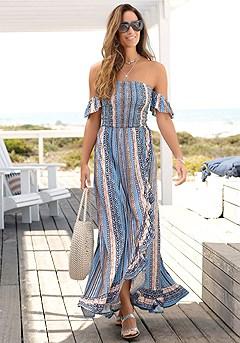 Ruffled Print Maxi Dress product image (X30128NVPR_1)