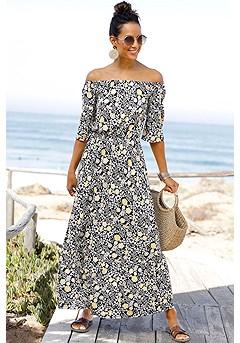 Floral Carmen Style Dress product image (X30138BKYL_1)