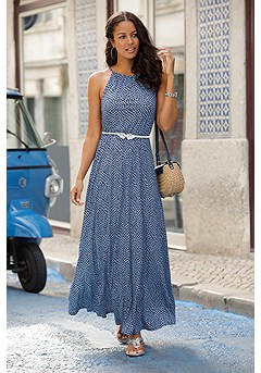 High Neck Maxi Dress product image (X30139BLPR_1)