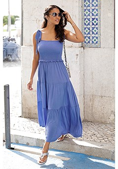 Smocked Tiered Maxi Dress product image (X30140BL_1)