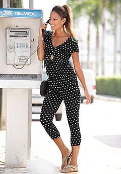 Polka Dot Capri Jumpsuit product image (X31011-BDOT-00)
