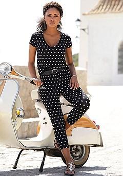Polka Dot Capri Jumpsuit product image (X31011.BDOT.P)