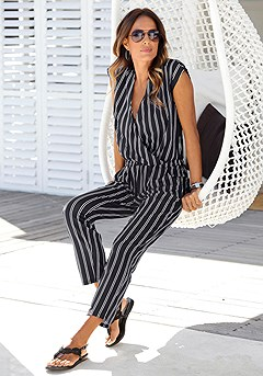 Wrap-Look Striped Jumpsuit product image (X31013-BWST-00)
