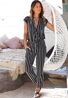 Wrap-Look Striped Jumpsuit product image (X31013.BWST.P)