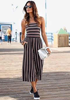 Striped Culotte Romper product image (X31015-BKST-00-S)