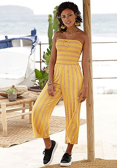 Strapless Striped Jumpsuit product image (X31015.YLMU.1)
