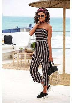 Strapless Striped Jumpsuit product image (X31015BKST_1)