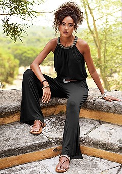 Sleeveless Embroidered Jumpsuit product image (X31017.BK.M)