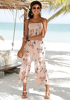 Smocked Floral Tie Back Jumpsuit product image (X31043.K)