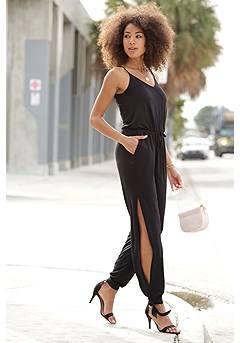 Sleeveless V-Neck Jumpsuit product image (X31049BK_1)