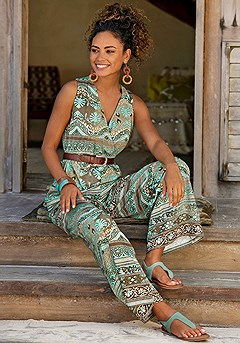 Patterned Wide Strap Jumpsuit product image (X31051.TQMU.1.1)
