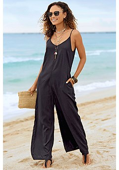 V-Neck Jumpsuit product image (X31061BK_1)