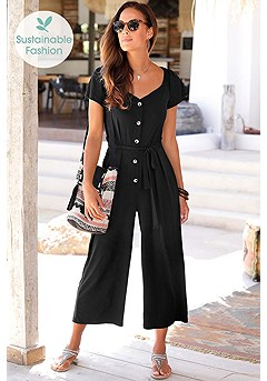 Button Detail Jumpsuit product image (X31066BK_1)