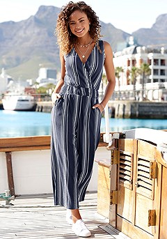 Striped Wrap Look Jumpsuit product image (X31072NVST_1)