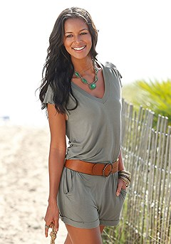 Casual Cap Sleeve Romper product image (X32007-KH)