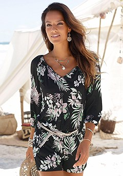 Tropical Print Romper product image (X32015BKPR_00)