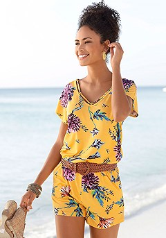 Strappy Floral Romper product image (X32027-YLMU-00)
