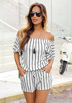 Striped Carmen Romper product image (X32029-BWST-00)