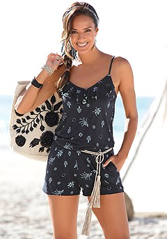 Ruffle Detail Print Romper product image (X32031-NVPR-00-S)