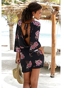 Floral Flare Sleeve Romper product image (X32078BKPR__)