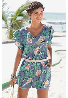 Floral Cut Out Romper product image (X32086NVPR_1)
