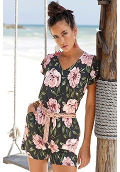 Floral Ruffle Sleeve Romper product image (X32088MUPR)