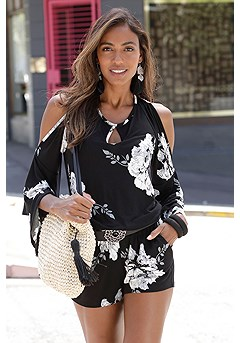Floral Print Romper product image (X32091BKWH)
