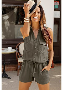 Sleeveless Drawstring Romper product image (X32093KH_1)