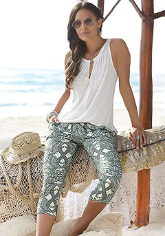 Sleeveless Keyhole Top, Multi Print Capri Pants product image (X33034_X38042.1)