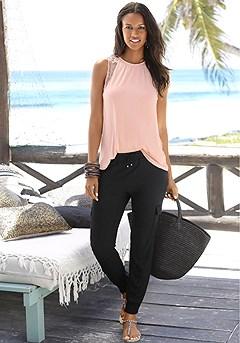 Lace Back Sleeveless Top, Drawstring Waist Pants product image (X33048.AP.X38013.BK.P)