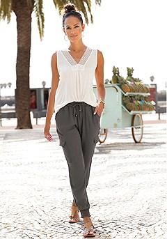 Crochet Insert Tank Top, Drawstring Waist Pants product image (X33080-WH_X38013-KH)