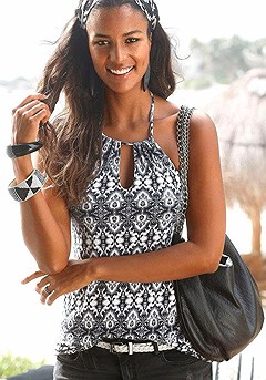 Printed Keyhole Halter Top product image (X33083-WHPR-00)
